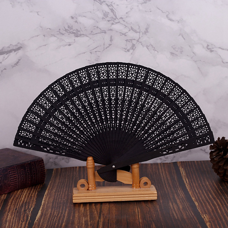 10X-8-Inch-Chinese-Japanese-Folding-Fan-Original-Wooden-Hand-Flower-Bamboo-8O8 thumbnail 3