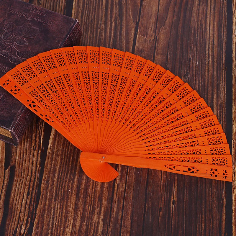 thumbnail 7 - 10X-8-Inch-Chinese-Japanese-Folding-Fan-Original-Wooden-Hand-Flower-Bamboo-8O8