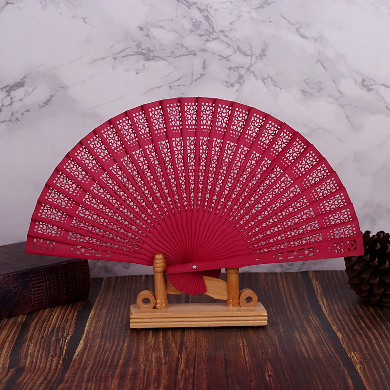 10X-8-Inch-Chinese-Japanese-Folding-Fan-Original-Wooden-Hand-Flower-Bamboo-8O8 thumbnail 10
