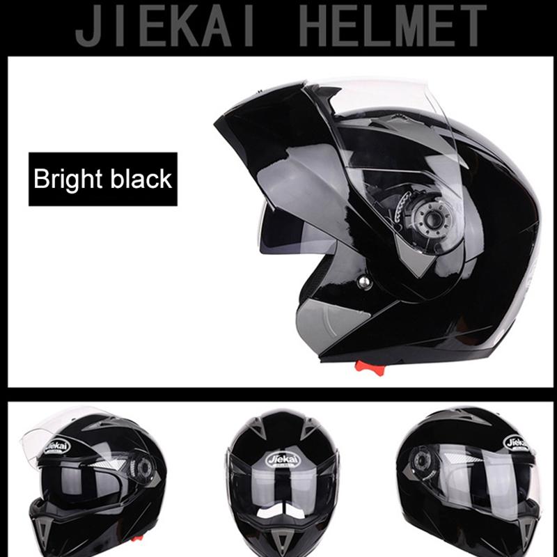 JIEKAI-Moto-Casque-Ouvert-Face-Casque-Double-Lentille-Voiture-ELectrique-de-Voit miniature 3