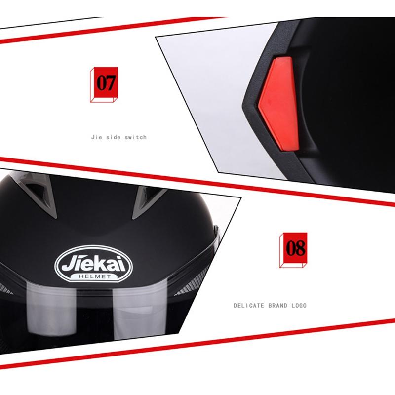 JIEKAI-Moto-Casque-Ouvert-Face-Casque-Double-Lentille-Voiture-ELectrique-de-Voit miniature 7