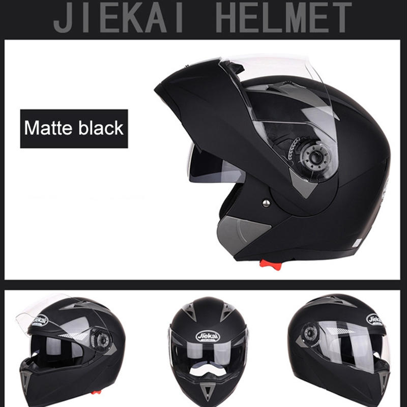 JIEKAI-Moto-Casque-Ouvert-Face-Casque-Double-Lentille-Voiture-ELectrique-de-Voit miniature 10