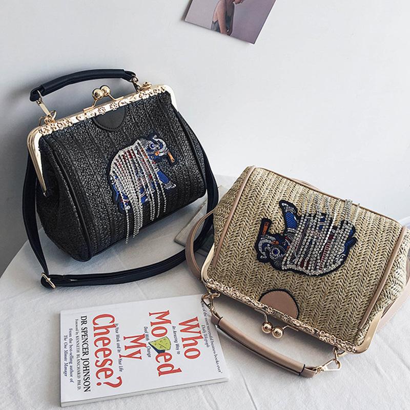 Gewebte-Strand-Tasche-Weibliche-Neue-Stroh-Sack-Elefant-Stickerei-Mode-Schu-D7U4 Indexbild 3