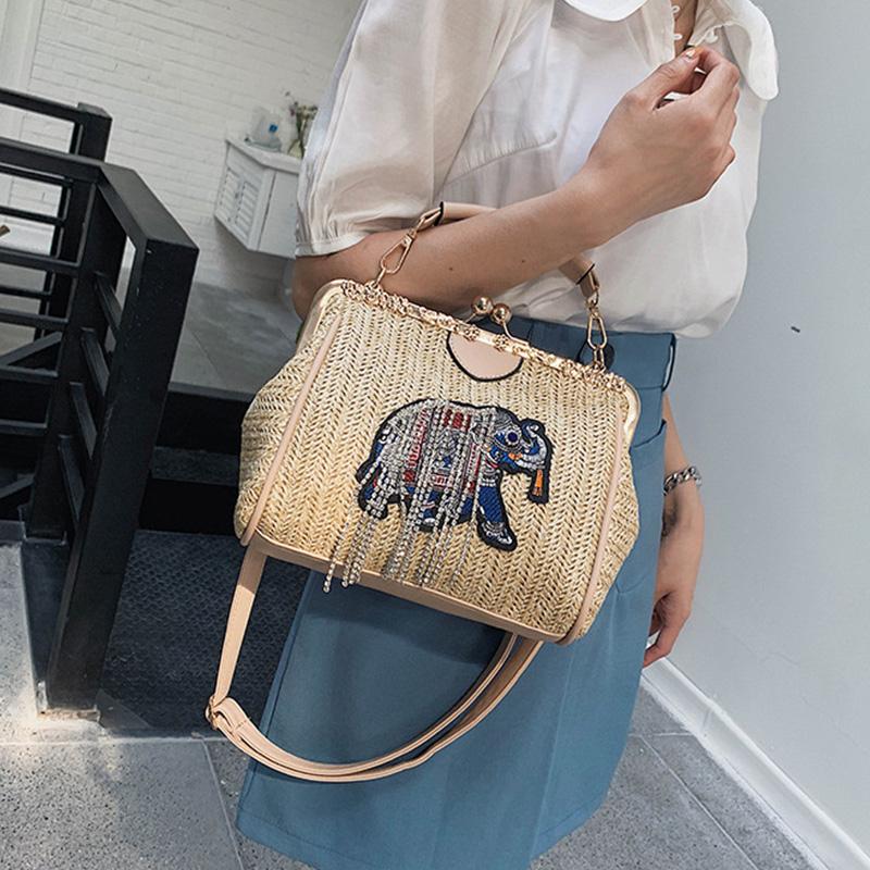 Gewebte-Strand-Tasche-Weibliche-Neue-Stroh-Sack-Elefant-Stickerei-Mode-Schu-D7U4 Indexbild 4
