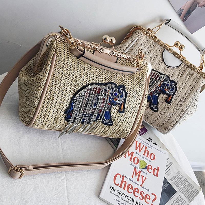 Gewebte-Strand-Tasche-Weibliche-Neue-Stroh-Sack-Elefant-Stickerei-Mode-Schu-D7U4 Indexbild 8