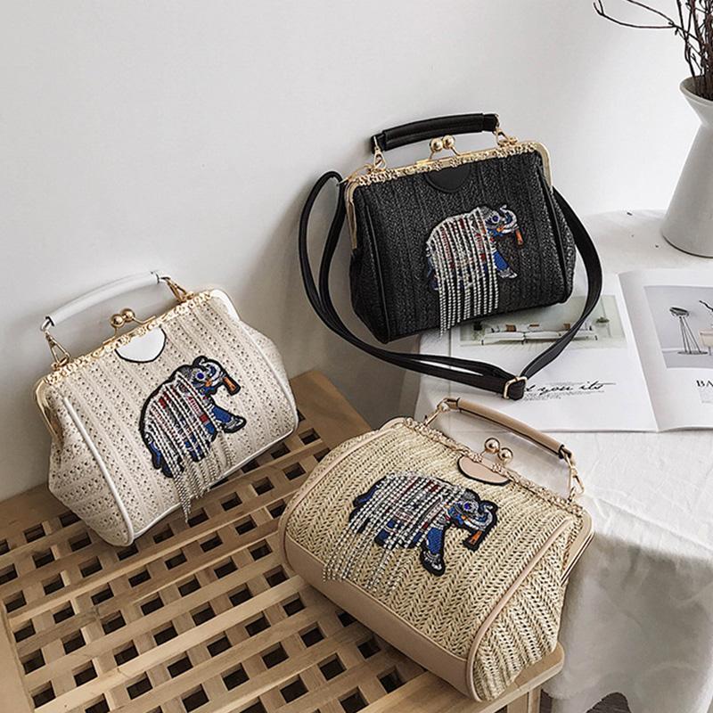 Gewebte-Strand-Tasche-Weibliche-Neue-Stroh-Sack-Elefant-Stickerei-Mode-Schu-D7U4 Indexbild 13