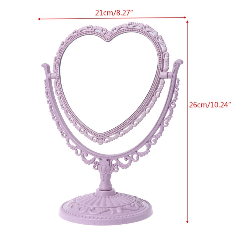 1X-Makeup-Mirror-Heart-Shape-Rotatable-Stand-Table-Compact-Mirror-Plastic-DI1S2 thumbnail 3
