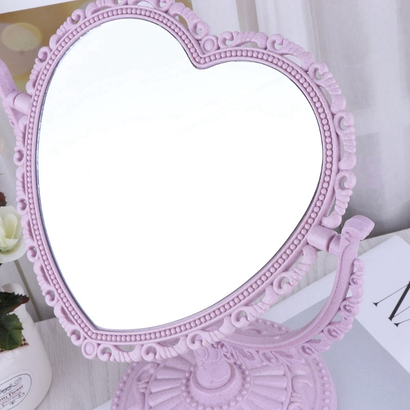 1X-Makeup-Mirror-Heart-Shape-Rotatable-Stand-Table-Compact-Mirror-Plastic-DI1S2 thumbnail 4