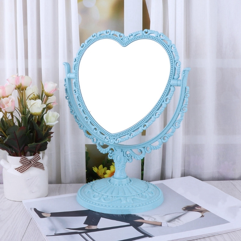 1X-Makeup-Mirror-Heart-Shape-Rotatable-Stand-Table-Compact-Mirror-Plastic-DI1S2 thumbnail 7