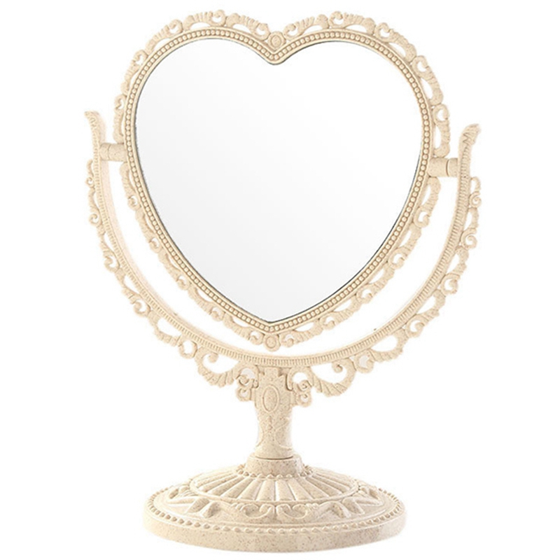 1X-Makeup-Mirror-Heart-Shape-Rotatable-Stand-Table-Compact-Mirror-Plastic-DI1S2 thumbnail 16