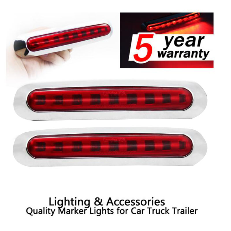 2X 10 Diodes LED Red Oval Light Indicator Turn Rear Truck Bus Boat Trailer Back