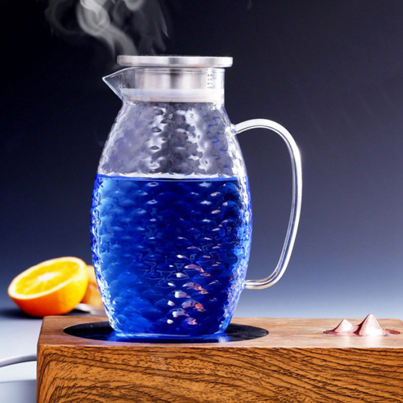 1X-Thick-Heat-Resistant-Hammer-Glass-Cool-White-Open-Kettle-Large-Capacity-L2G8 thumbnail 4