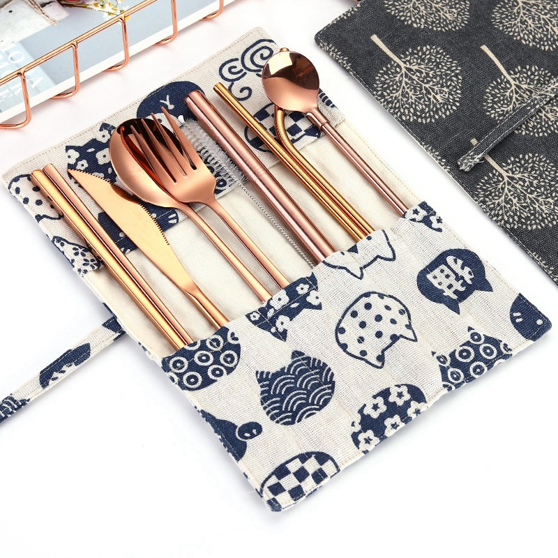 1X-New-9-Pcs-Set-Portable-Stainless-Steel-Cutlery-Set-Knife-Fork-Spoon-Stra3B8 thumbnail 9