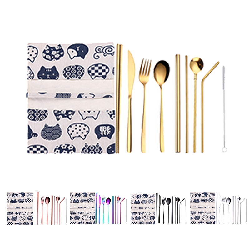 1X-New-9-Pcs-Set-Portable-Stainless-Steel-Cutlery-Set-Knife-Fork-Spoon-Stra3B8 thumbnail 17