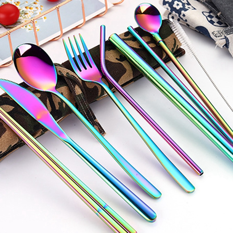 1X-New-9-Pcs-Set-Portable-Stainless-Steel-Cutlery-Set-Knife-Fork-Spoon-Stra3B8 thumbnail 20