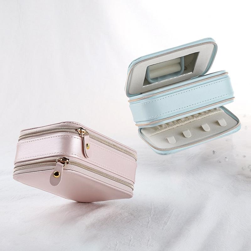 Casegrace-Jewelry-Box-Portable-Storage-Organizer-Zipper-Portable-Display-Tr-H6F2 thumbnail 12
