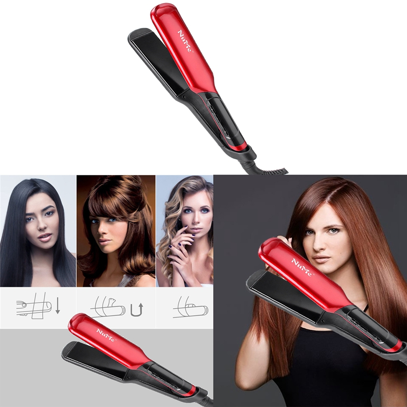 Nume-Hair-Straightener-Hair-Curler-Ceramic-Plates-Flat-Iron-Wide-Panel-Lcd-Displ miniature 8