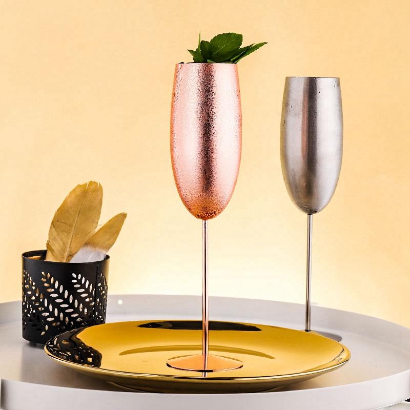 Europe-Luxe-Champagne-Coupe-en-Acier-Inoxydable-RETro-Cocktail-Tasse-en-MET-J2U3 miniature 3