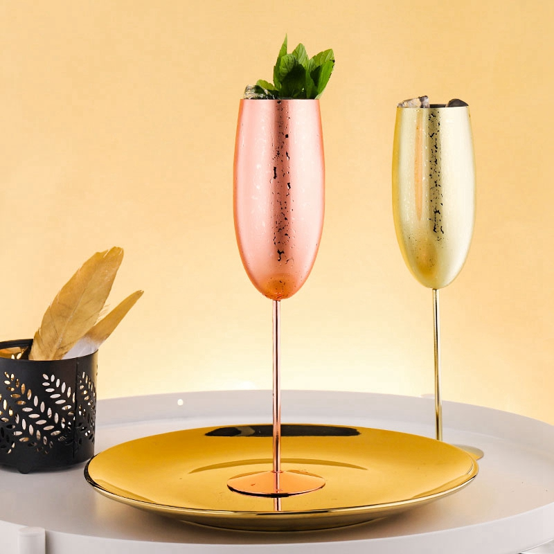 Europe-Luxe-Champagne-Coupe-en-Acier-Inoxydable-RETro-Cocktail-Tasse-en-MET-J2U3 miniature 4