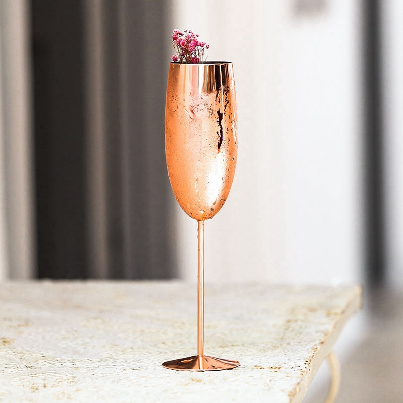 Europe-Luxe-Champagne-Coupe-en-Acier-Inoxydable-RETro-Cocktail-Tasse-en-MET-J2U3 miniature 5