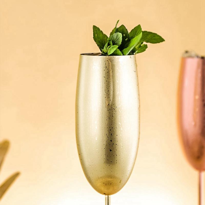 Europe-Luxe-Champagne-Coupe-en-Acier-Inoxydable-RETro-Cocktail-Tasse-en-MET-J2U3 miniature 9
