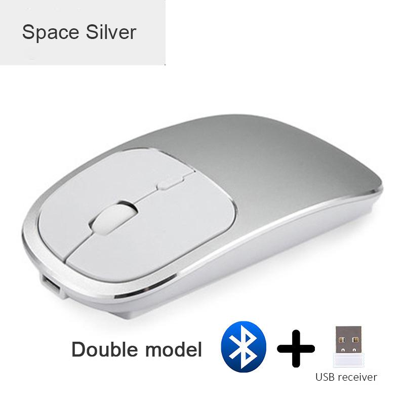 2X-Metall-Bluetooth-und-2-4-G-Wireless-Mouse-Alloy-Ultra-Thin-Recharge-Trag-S7K5 Indexbild 3