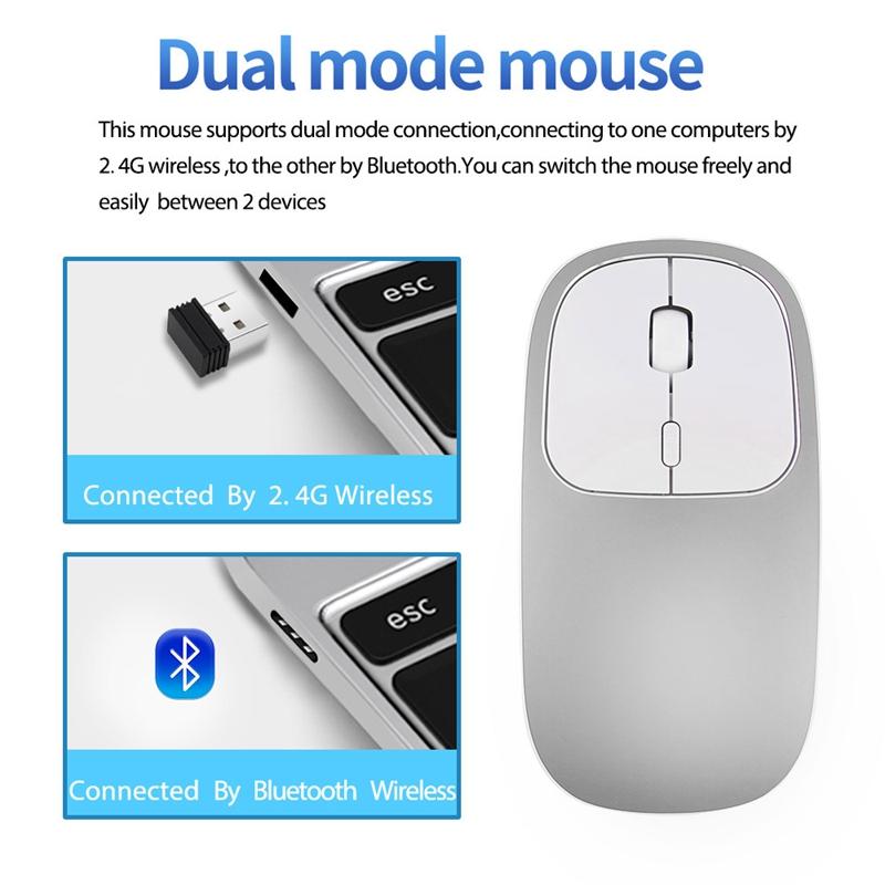 2X-Metall-Bluetooth-und-2-4-G-Wireless-Mouse-Alloy-Ultra-Thin-Recharge-Trag-S7K5 Indexbild 4