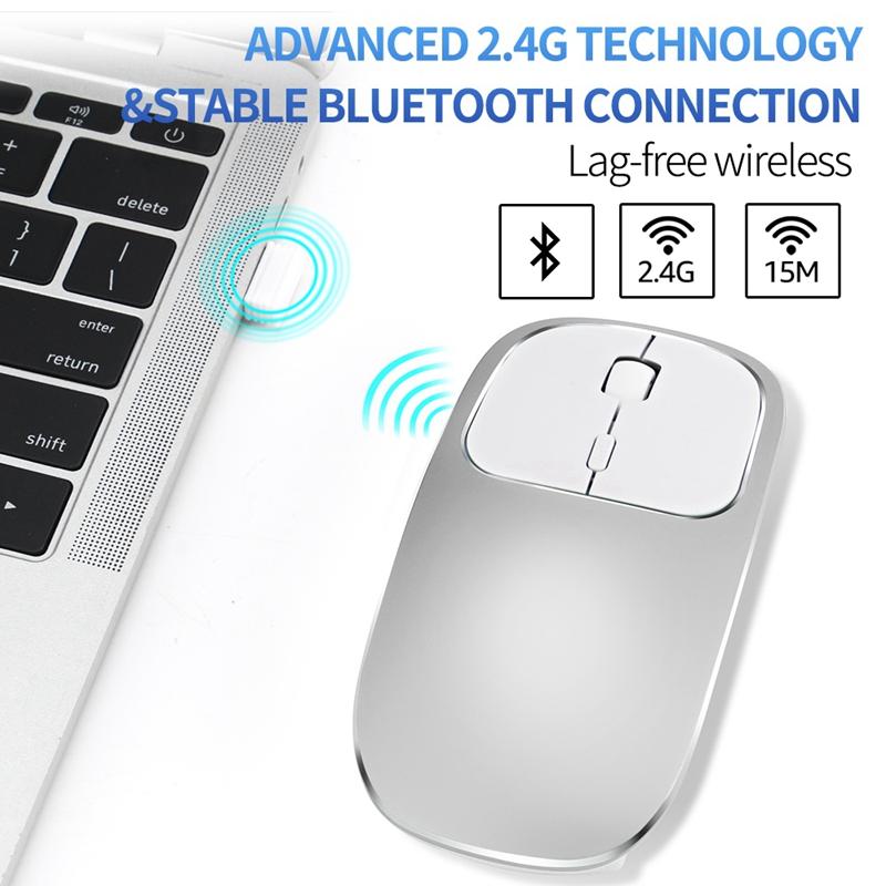 2X-Metall-Bluetooth-und-2-4-G-Wireless-Mouse-Alloy-Ultra-Thin-Recharge-Trag-S7K5 Indexbild 5