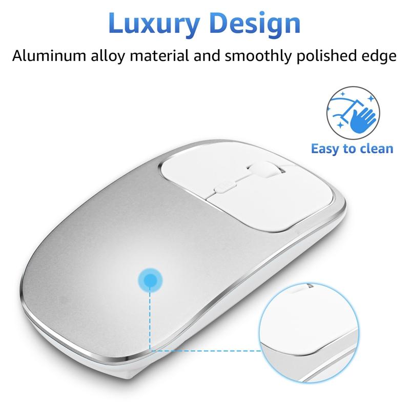 2X-Metall-Bluetooth-und-2-4-G-Wireless-Mouse-Alloy-Ultra-Thin-Recharge-Trag-S7K5 Indexbild 6