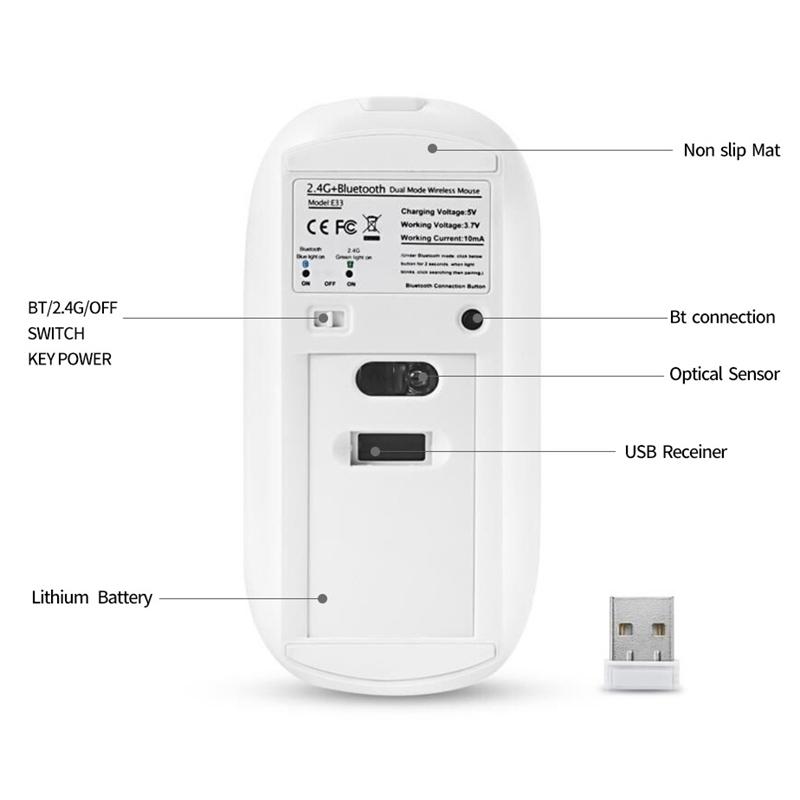 2X-Metall-Bluetooth-und-2-4-G-Wireless-Mouse-Alloy-Ultra-Thin-Recharge-Trag-S7K5 Indexbild 8