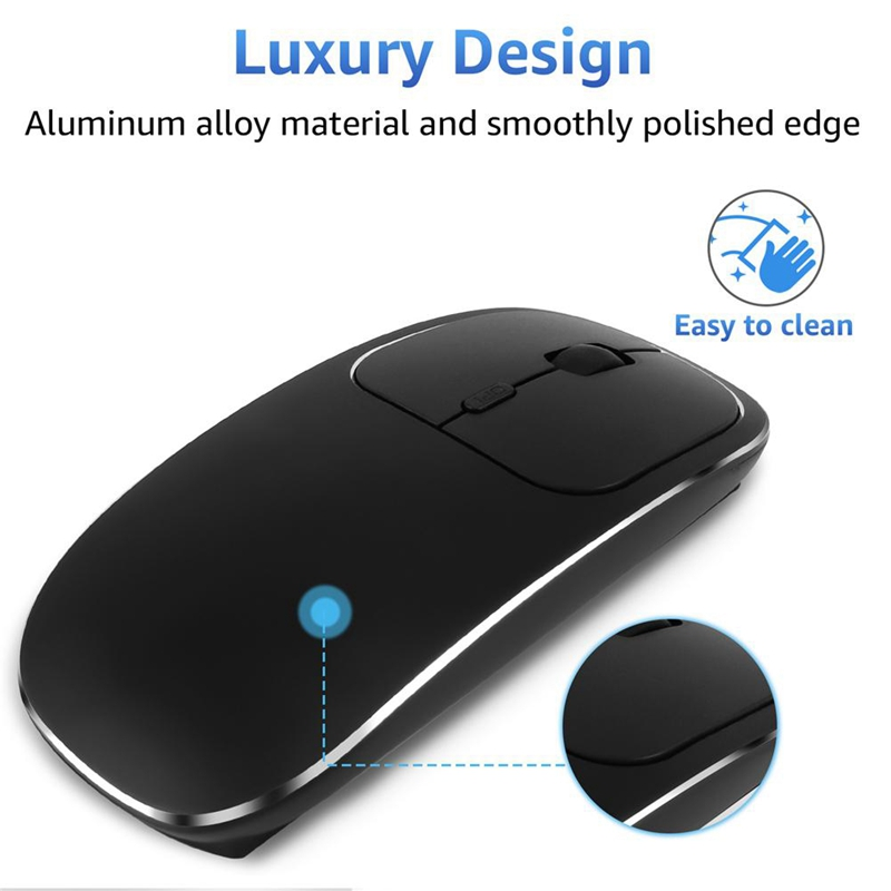 Bluetooth-amp-2-4G-Wireless-Mouse-Plastic-Ultra-Thin-Recharge-Ergonomic-Mice-X9J8 thumbnail 2