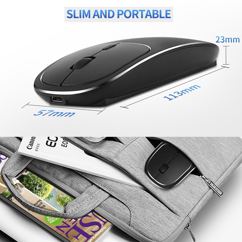 Bluetooth-amp-2-4G-Wireless-Mouse-Plastic-Ultra-Thin-Recharge-Ergonomic-Mice-X9J8 thumbnail 5