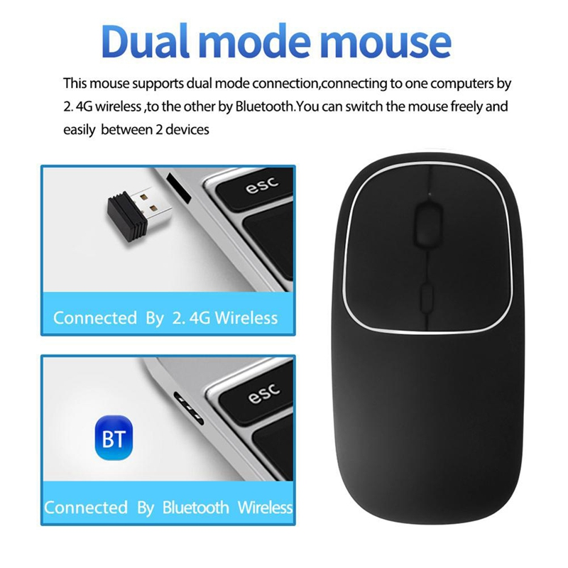 Bluetooth-amp-2-4G-Wireless-Mouse-Plastic-Ultra-Thin-Recharge-Ergonomic-Mice-X9J8 thumbnail 6