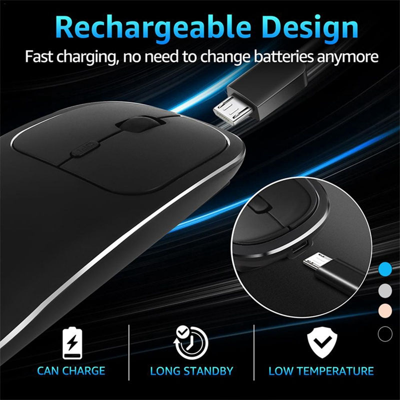 Bluetooth-amp-2-4G-Wireless-Mouse-Plastic-Ultra-Thin-Recharge-Ergonomic-Mice-X9J8 thumbnail 7