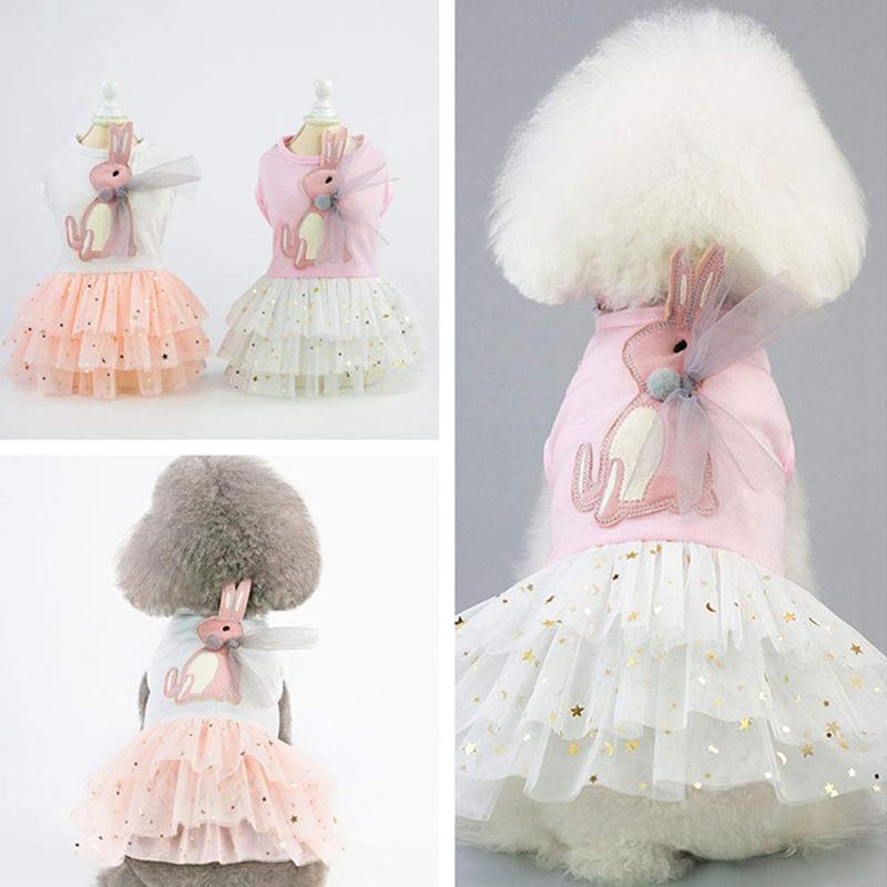 Animal-de-Compagnie-Robe-Lapin-Mignon-Decor-Chien-Tutu-Princesse-Robe-de-M-G7T1 miniature 8