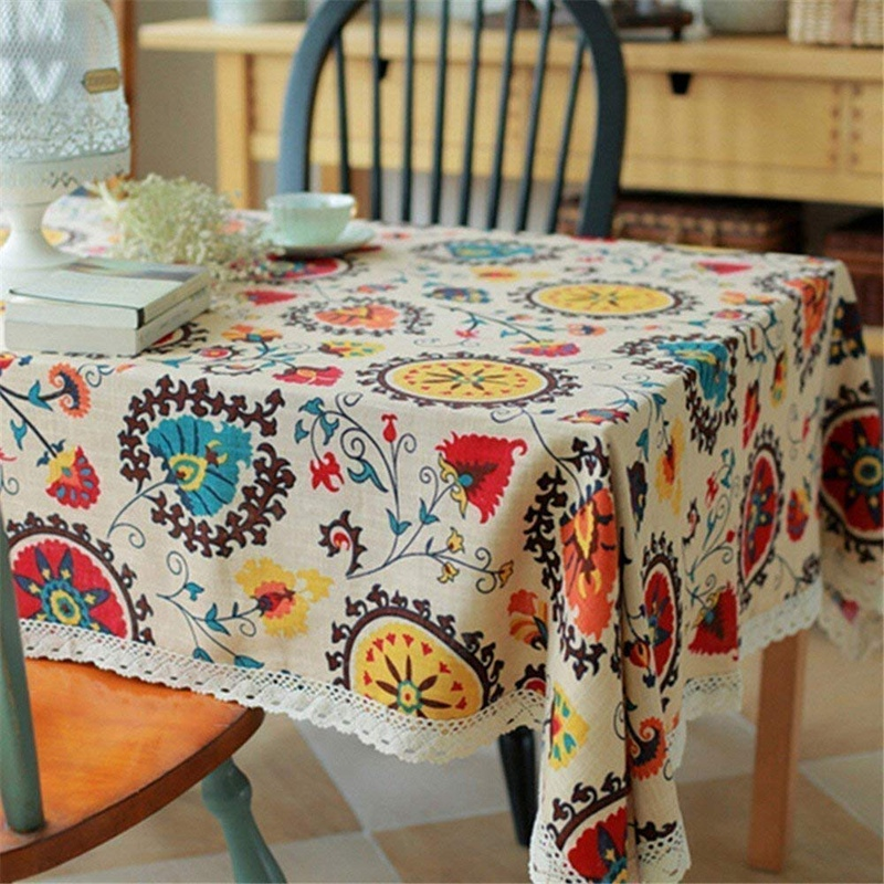 Nappe-de-Table-en-Dentelle-de-Nappe-de-Rectangle-de-Style-Boheme-pour-la-Co-I3Q7 miniature 4