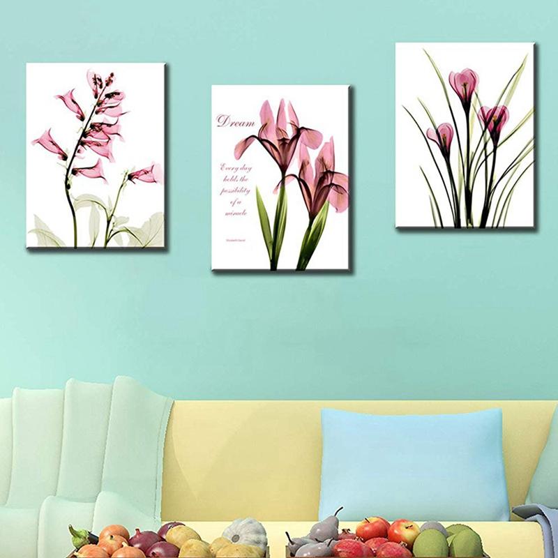 1X-3Pcs-Beautiful-Elegant-Flowers-Pictures-Prints-on-Canvas-Wall-DecorationB2X7 thumbnail 5