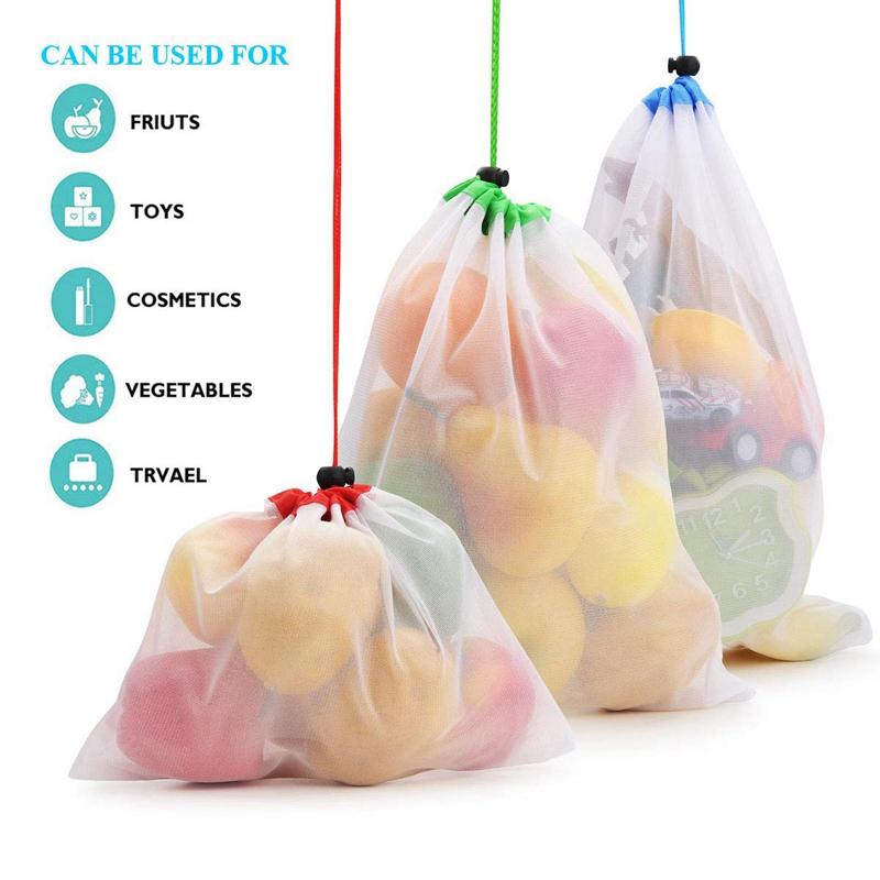 3X-Dix-Sac-de-Maille-en-Polyester-Reutilisable-pour-Fruits-et-Legumes-Sacs-U6B4 miniature 4