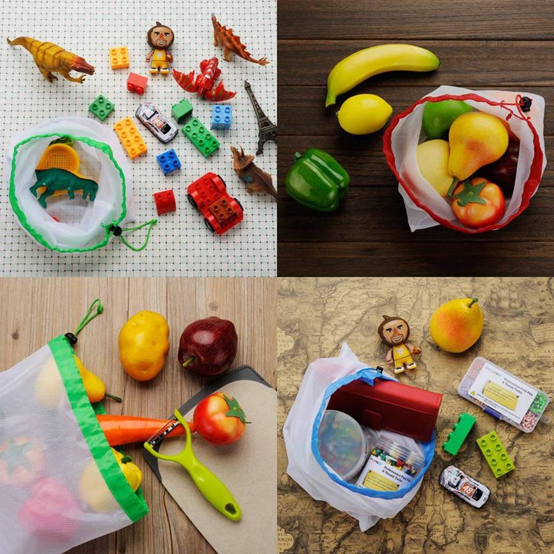 3X-Dix-Sac-de-Maille-en-Polyester-Reutilisable-pour-Fruits-et-Legumes-Sacs-U6B4 miniature 6