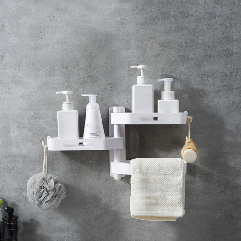 3-Tier-180-Degree-Free-Of-Punch-Rotating-Wall-Mount-Bathroom-Storage-Rack-S4Y5 thumbnail 3