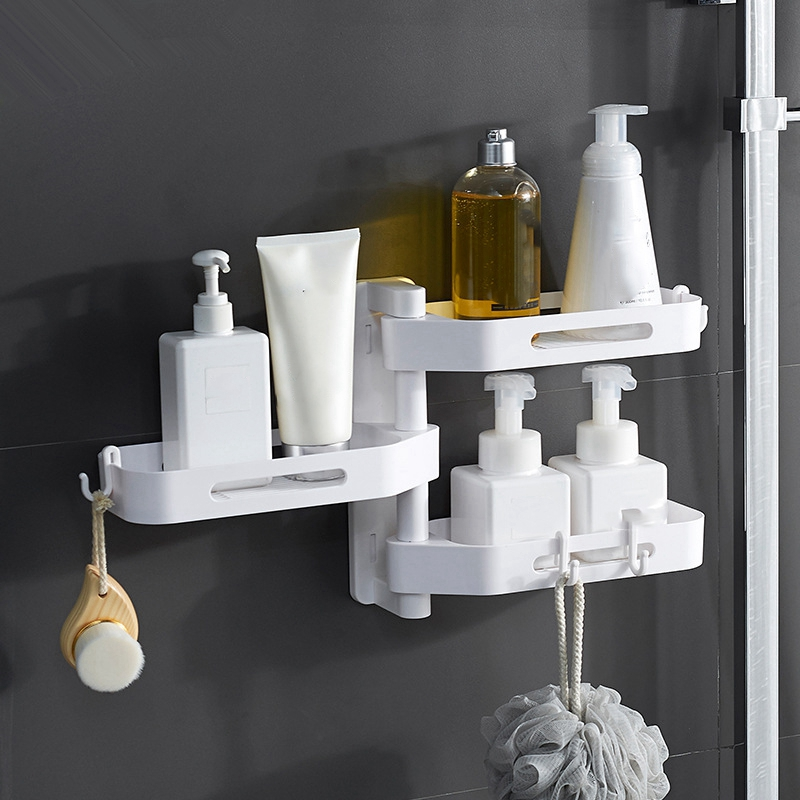 3-Tier-180-Degree-Free-Of-Punch-Rotating-Wall-Mount-Bathroom-Storage-Rack-S4Y5 thumbnail 5