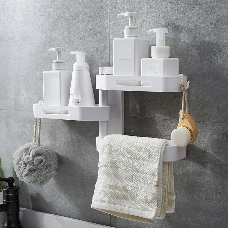 3-Tier-180-Degree-Free-Of-Punch-Rotating-Wall-Mount-Bathroom-Storage-Rack-S4Y5 thumbnail 7