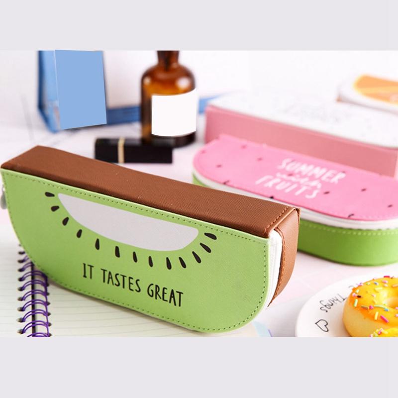 1X-Pu-Cuero-Fruta-Cajas-de-Lapices-Papeleria-Tienda-de-Gran-Tamano-Escuela-W5C4 miniatura 4