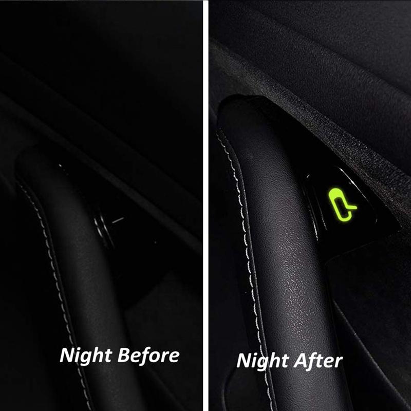 Set of 8Pcs Open Door Exit Decal Luminous Glow Button Stickers for Tesla Model 3