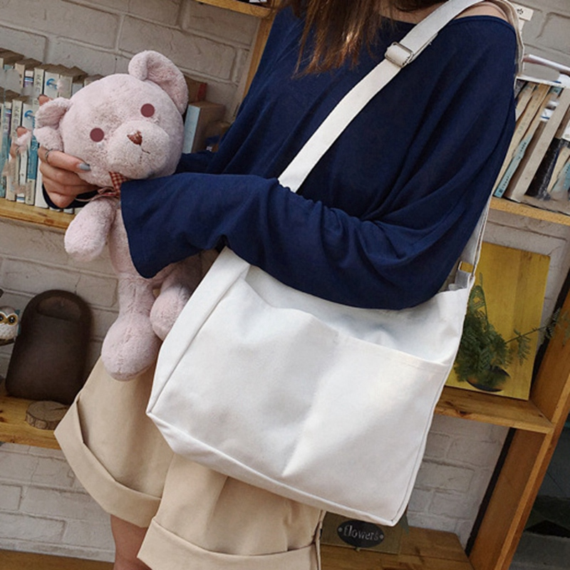 New-Female-Student-Fashion-Wild-Shoulder-Shopping-Bag-Large-Capacity-Canvas-I4B9 thumbnail 5