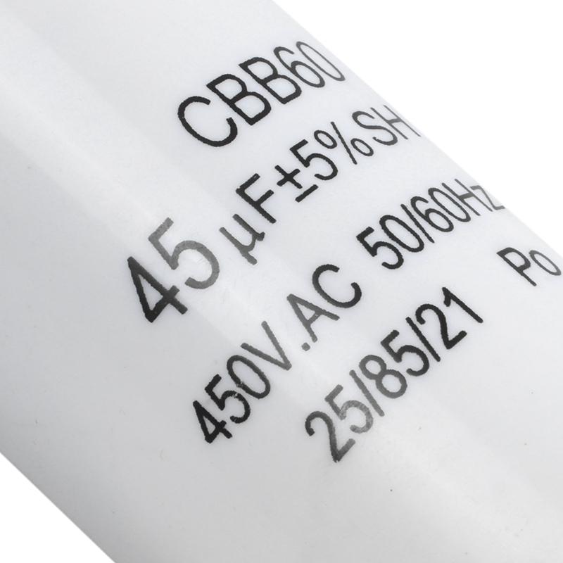 SODIAL 2X Weisse Plastik 45uF 50// 60Hz 450V AC CBB60 Motor Start Betrieb GY R