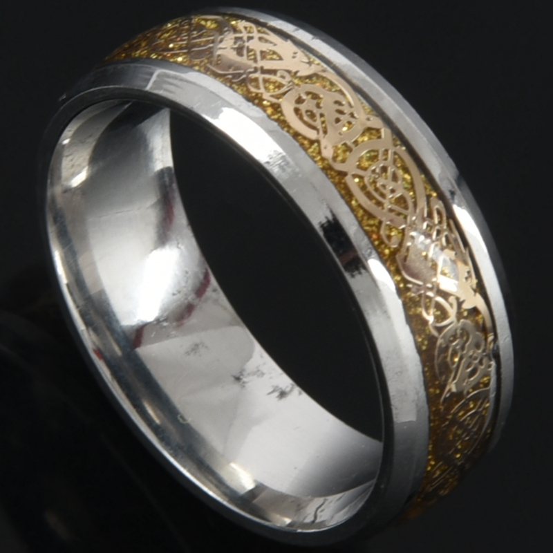 Details about Dragon Scale Beveled Edges Celtic Rings Jewelry Wedding Band  For Men Gold PK