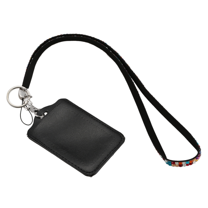 Rhinestone-Bling-Crystal-Custom-Lanyard-Vertical-ID-Badge-Holder-I9O6 thumbnail 3