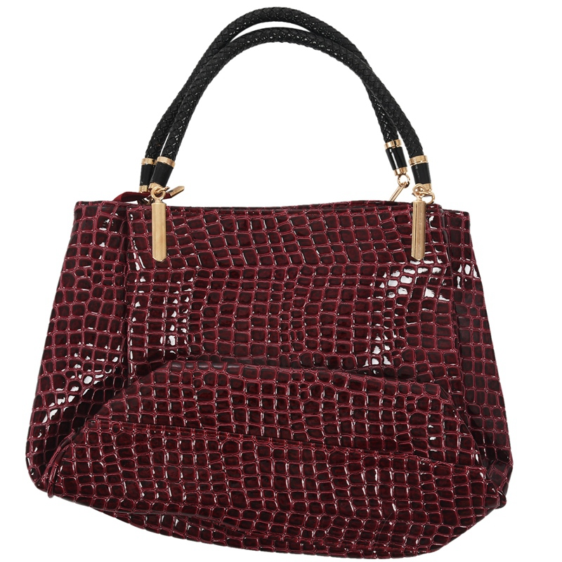thumbnail 21 - Fashion-Women-Crocodile-Pattern-Leather-Shoulder-Bag-Female-Tote-Handbag-Y7J2