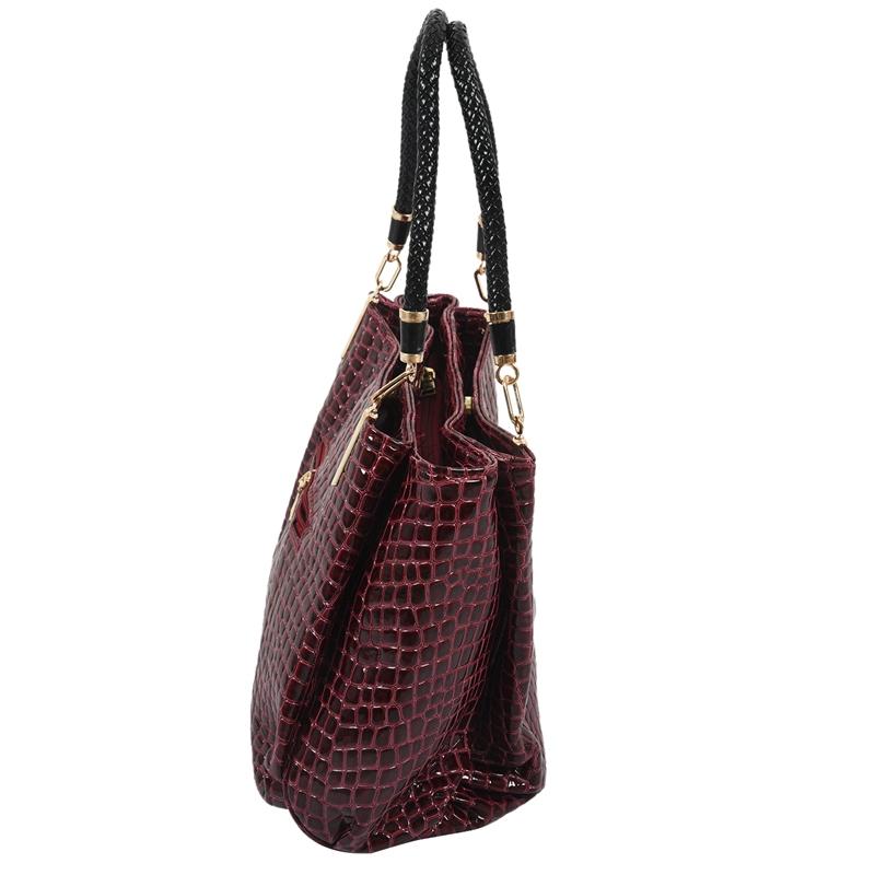 thumbnail 26 - Fashion-Women-Crocodile-Pattern-Leather-Shoulder-Bag-Female-Tote-Handbag-Y7J2